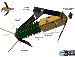 Delfi-C3: grote satelliet opknippen in kleinere exemplaren