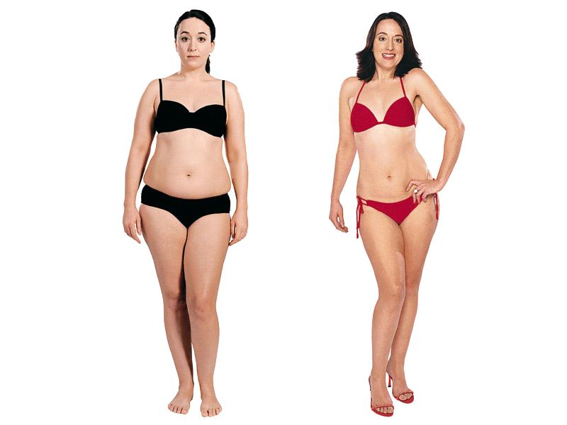 Estómago fat belly girl en bikini negro