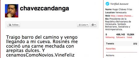 Hugo Chavez op Twitter (@chavezcandanga)