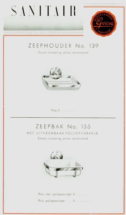 Een oude Geesa-folder met het klassieke zeepbakje