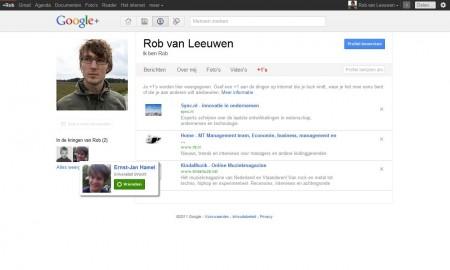 Het profielscherm binnen Google+
