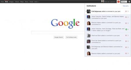 De meldingen van Google+ terwijl je op de homepage van de zoekmachine bent.