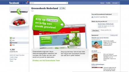 De Facebook-pagina van Greenwheels