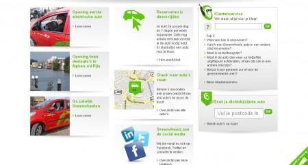 De homepage van Greenwheels