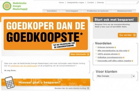 De homepage van de Nederlandse Energie Maatschappij