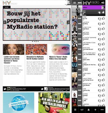 Een screenshot van MyRadio, met rechts de muziekwachtrij.
