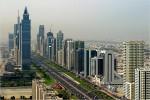 Skyline van de stad Dubai met haar vele torens