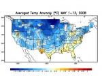 Temperatuurafwijking VS 1-13 mei 2008