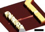 foto van de nanoLED tussen twee elementen geplaatst (Nano Letters)