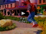 Marty McFly op een hoverboard in de film.